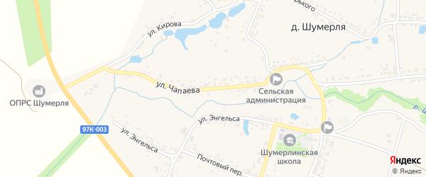 Улица Чапаева на карте разъезда Пинеры с номерами домов