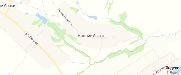 Карта деревни Нижние Ачаки в Чувашии с улицами и номерами домов