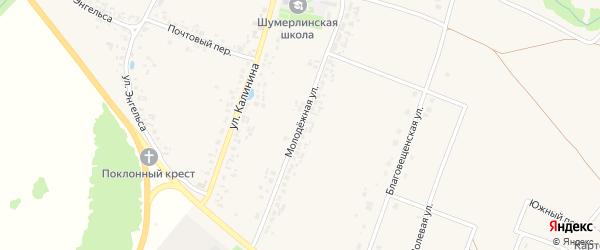 Молодёжная улица на карте деревни Шумерли с номерами домов