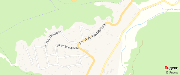 Улица А.А.Кадырова на карте села Ножая-Юрт с номерами домов