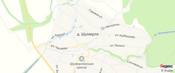 СТ Надежда на карте деревни Шумерли с номерами домов