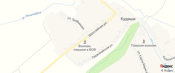 Шоссейная улица на карте деревни Кудаши с номерами домов