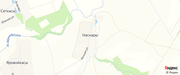 Карта деревни Наснар в Чувашии с улицами и номерами домов