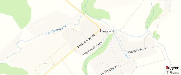 Карта деревни Кудаши в Чувашии с улицами и номерами домов