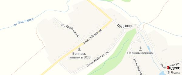 Улица Гагарина на карте деревни Кудаши с номерами домов