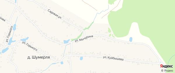Улица Мичурина на карте деревни Шумерли с номерами домов