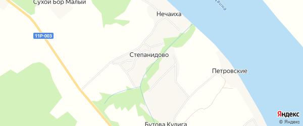 Карта Степановской деревни в Архангельской области с улицами и номерами домов