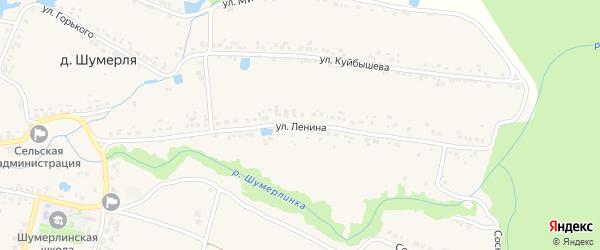 Улица Ленина на карте деревни Шумерли с номерами домов