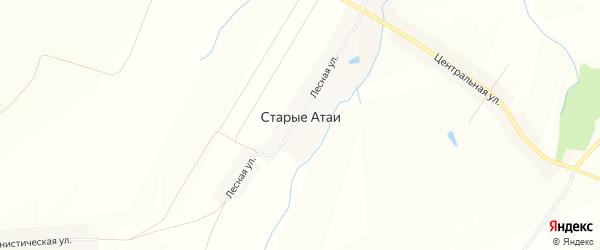Карта деревни Старые Атаи в Чувашии с улицами и номерами домов