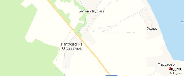 Карта деревни Петровские Средние в Архангельской области с улицами и номерами домов