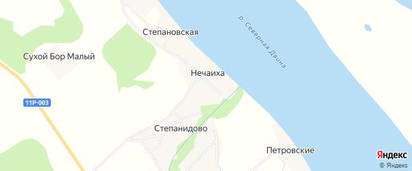 Карта деревни Нечаихи в Архангельской области с улицами и номерами домов