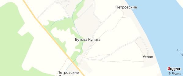 Карта деревни Бутовой Кулиги в Архангельской области с улицами и номерами домов