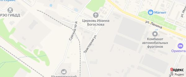 Тракторная улица на карте Шумерли с номерами домов