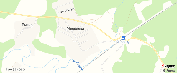Карта деревни Медведки в Архангельской области с улицами и номерами домов