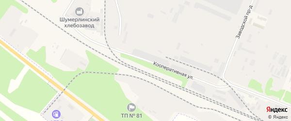 Кооперативная улица на карте Шумерли с номерами домов