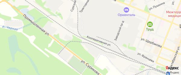 ГСК Шипы на карте Кооперативной улицы с номерами домов