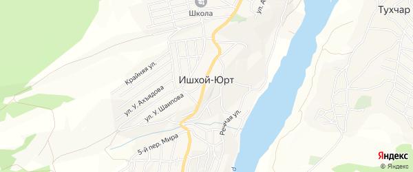Карта села Ишхой-Юрт в Чечне с улицами и номерами домов