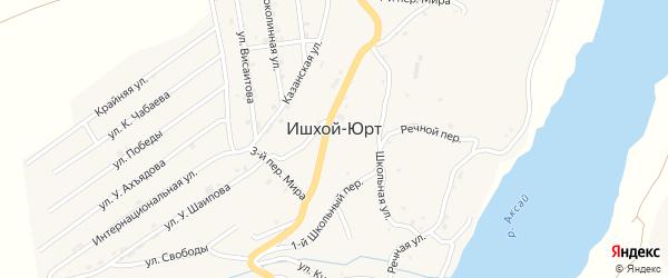 Переулок Байсагурова на карте села Ишхой-Юрт с номерами домов