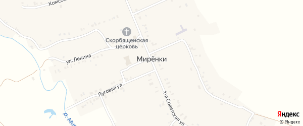 Набережная улица на карте села Миренки с номерами домов