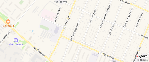 Улица Володарского на карте Шумерли с номерами домов