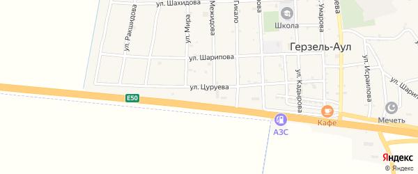 Улица Цуруева на карте села Верхнего Герзель с номерами домов