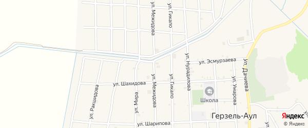 Улица Межидова на карте села Верхнего Герзель с номерами домов