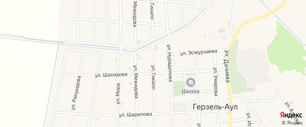 Улица Гикало на карте села Верхнего Герзель с номерами домов