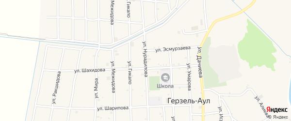 Улица Нурадилова на карте села Верхний-Нойбер с номерами домов