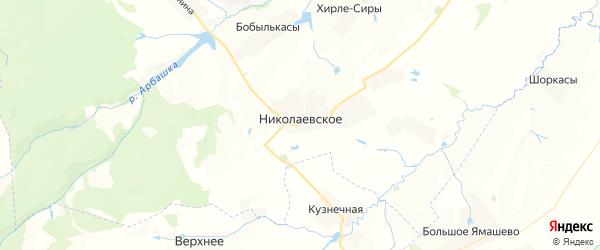 Карта Николаевского сельского поселения республики Чувашия с районами, улицами и номерами домов