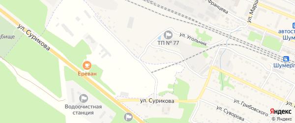 Улица Футболка на карте Шумерли с номерами домов