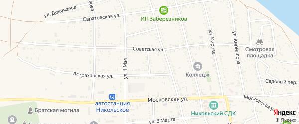 Астраханский переулок на карте Никольского села с номерами домов