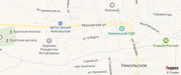 Улица 8 Марта на карте Никольского села с номерами домов
