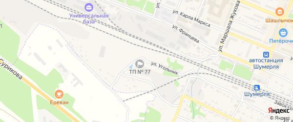 Улица Угольник на карте Шумерли с номерами домов