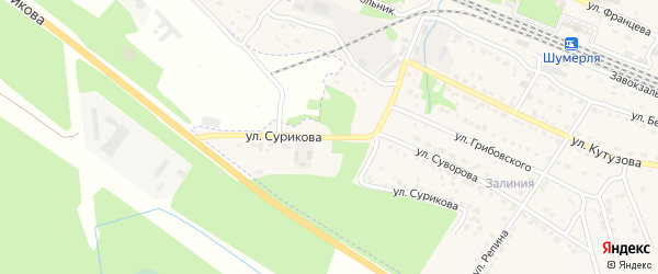 Улица Сурикова на карте Шумерли с номерами домов