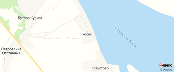 Карта деревни Усово в Архангельской области с улицами и номерами домов