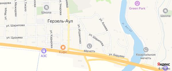 Улица Абубакарова на карте села Верхнего Герзель с номерами домов
