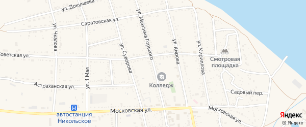 Улица Максима Горького на карте Никольского села с номерами домов