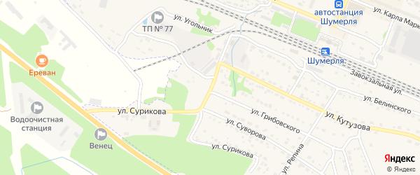 Базовый проезд на карте Шумерли с номерами домов
