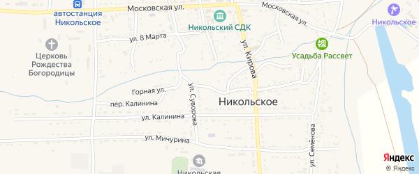 Горная улица на карте Никольского села с номерами домов