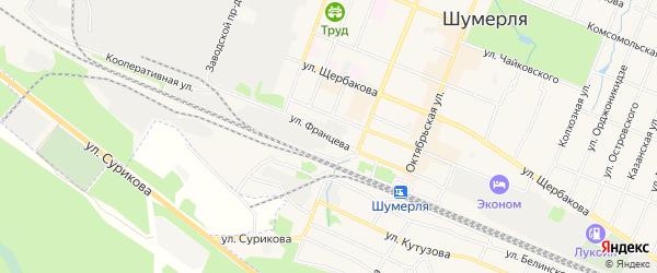 ГСК Связист на карте улицы Францева с номерами домов