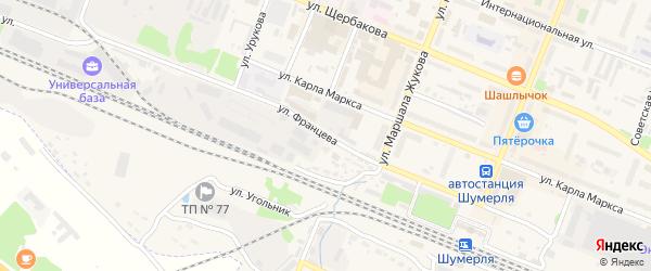 Улица Францева на карте Шумерли с номерами домов