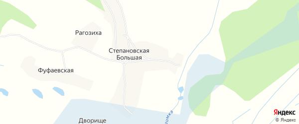 Карта Степановской Большей деревни в Архангельской области с улицами и номерами домов