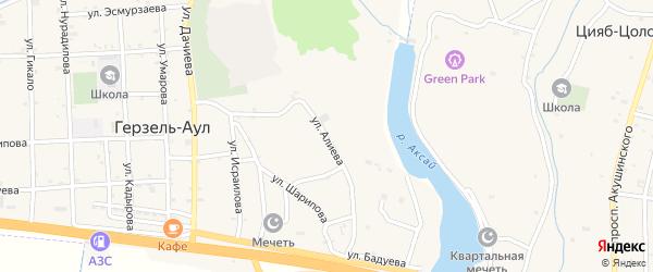 Улица Алиева на карте села Верхний-Нойбер с номерами домов