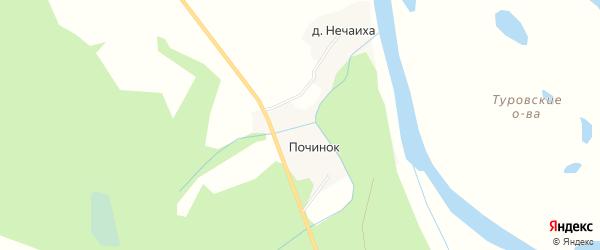 Карта деревни Починка в Архангельской области с улицами и номерами домов