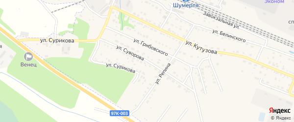 Улица Суворова на карте Шумерли с номерами домов