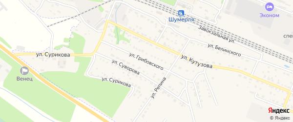 Улица Грибовского на карте Шумерли с номерами домов