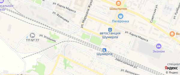 Привокзальная улица на карте Шумерли с номерами домов