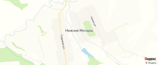 Карта деревни Нижние Мочары в Чувашии с улицами и номерами домов