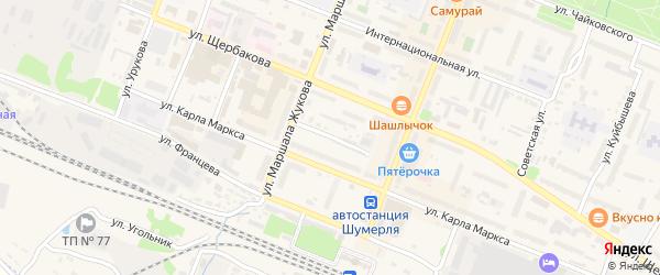 Почтовый переулок на карте Шумерли с номерами домов