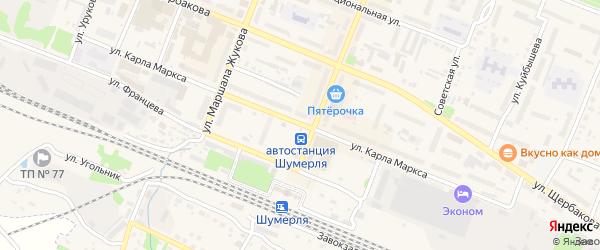 Улица Карла Маркса на карте Шумерли с номерами домов
